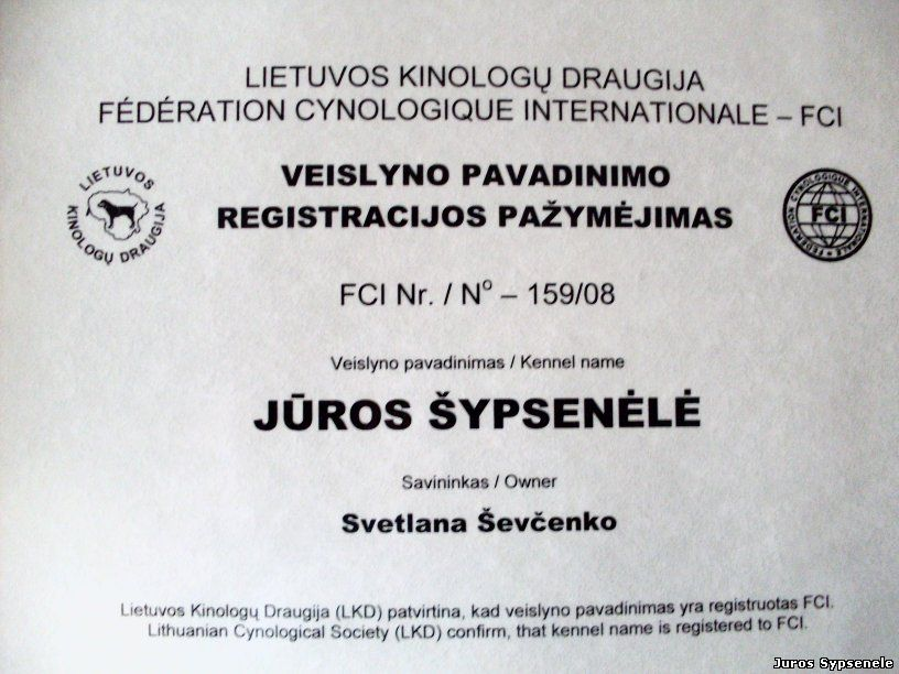 Certificate of Registration. Zwergpinschers kennel Juros Sypsenele